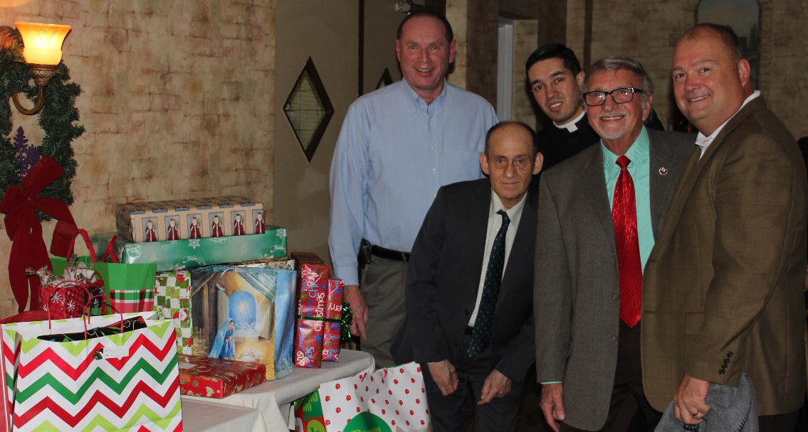 In the picture, (L to R) Jim Zajdel, PGK, Anthony Iovine, Fr. Jhon Madrid, Charlie Miele, GK & Scott Milliken, DPD Executive Director